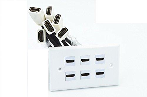 MXtechnic Prise Murale HDMI ,Adaptateur HDMI pour 6 Connexions avec 4 intégré Flexible Câble avec Ethernet