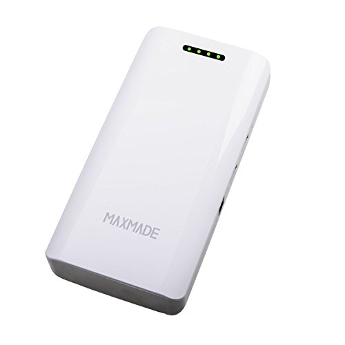 Maxmade® 11000Mah Dual Usb Power Bank/Car Jump Starter Made Of 400A-Peak-Current Lifepo4 Battery Up To 15 Ignition Times At Full Charge Perfect For Starting Your Car In Emergency With Ultra-Bright Led Flashlight And Dual Usb Output Also Charge For Apple A