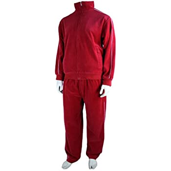Mens Red Velour Tracksuit Nanahacwofeli