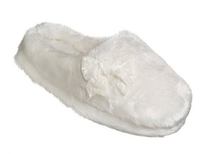 Cheap Womens Dearfoams Plush White Fur Slippers Large 9-10 Clogs (B005KJZBIW)