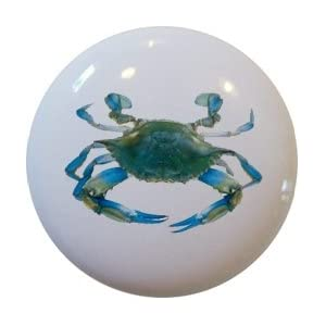 Blue Crab Ceramic Cabinet Drawer Pull Knob