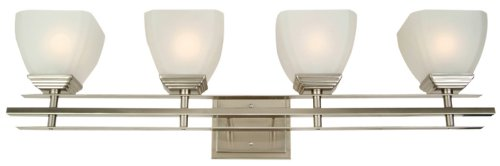 Yosemite Home Decor 95594Sn Half Dome Bathroom Vanity With White Frosted Shade, 4-Light, Satin Nickel