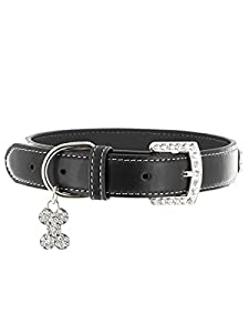 "Kakadu Pet 5th Avenue Leather Rhinestone Dog Collar, 3/4"" x 17 1/2"", Black"