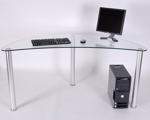 "Buy Low Price Comfortable 61"" Glass and Aluminum Computer or Utility Table (B000JHM6GA)"