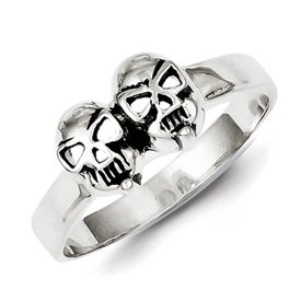 Genuine IceCarats Designer Jewelry Gift Sterling Silver Antiqued Skull Ring Size 11.00