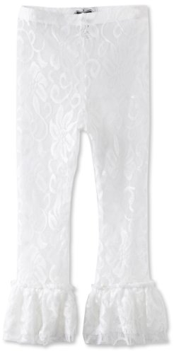 Mud Pie Little Girls' Lace Ruffle Legging, White, 5T (Mud Pie White Lace Leggings compare prices)