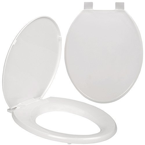 TU White Plastic Toilet Seat Oval Bathroom Thermoplastic + Fittings Replacement