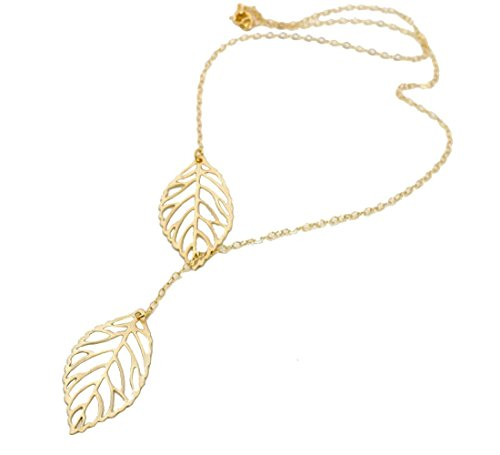 Tricess Womens Girls Simple Metal Double Leaf Pendant Shiny Alloy Short Choker Necklace Valentine's Gift