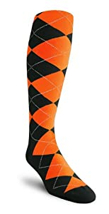 Argyle Socks - YY: Black Orange - Over-the-Calf by Golf Knickers