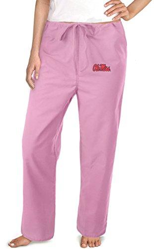 Ole Miss Pink Scrubs Pants Bottoms-Sz Xxl- University Of Mississippi Ladies front-916539