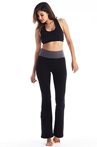 Viosi Women's Premium 250gsm Fold Over Cotton Spandex Lounge Yoga Pants (Yoga Womens Pants compare prices)