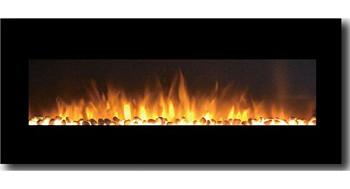 Gibson Living GL5050PF Milan 50 Inch Pebbles Electric Wall Mounted Fireplace Black (Modern Propane Fireplace compare prices)