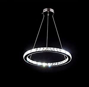 YOBO Lighting Contemporary Crystals LED Chandelier Light Living Room D400mm Ring Crystal Hanging Ceiling Light by YOBO Lighting
