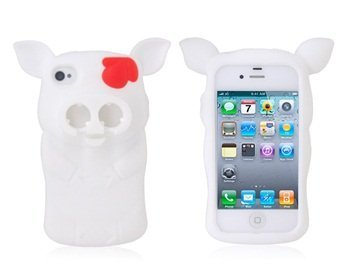 3D Pig Shaped Silicone Case With Headphone Winder For Iphone 4/ 4S (White) + Worldwide Free Shiping