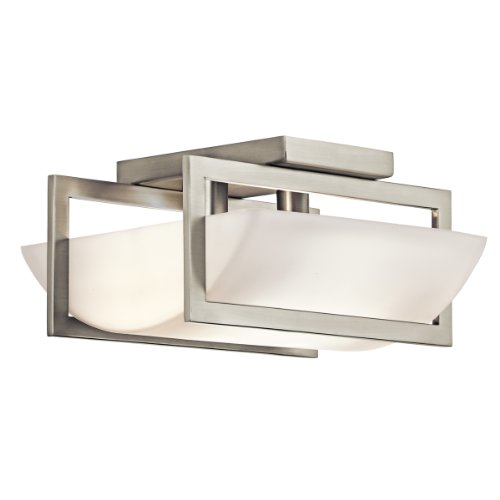 B003F1KXTO Kichler Lighting 42419NI Crescent View 2-Light Semi-Flush Ceiling Light, Brushed Nickel with Opal-Etched Glass