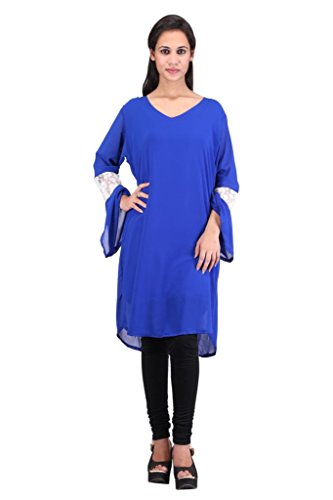 Straight Fit With Lace Work On Bell Sleeves Medium Length Designer Kurti By Sw