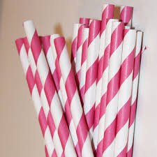 Hot Pink Paper Striped Straws - 1