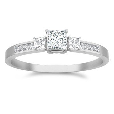 0.62 Carat Three Stone Wedding ring for sale with Princess cut Diamond on 18K White gold