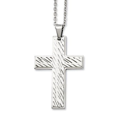 Stainless Steel Polished Textured Cross Necklace - 24 Inch