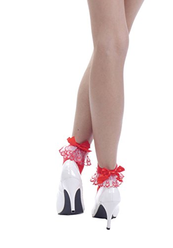Women's Ruffled Lace and Satin Bow Ankle Sock Stockings