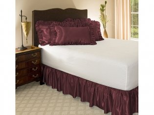 "Twin Xl Burgundy Satin Ruffled Bed Skirt, 21"" Drop front-1053137"