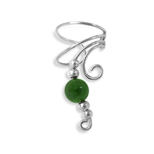 Christmas Gifts Bling Jewelry Ear Cuff Right Ear Long Wave Green Jade Gemstone 925 Sterling Silver