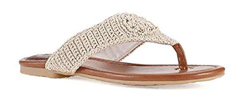 The SAK Women's Shana Flip Flop, Eggshell Sparkle, 8 M US