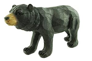 Black Bear Statue with Very Realistic Carved-Wood Look & Feel, 11-inch