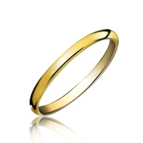 Bling Jewelry Gold Tungsten Unisex Wedding Band Ring 2mm
