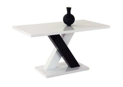 910735 Esstisch Xenia, Hochglanz lackiert, weiß und schwarz