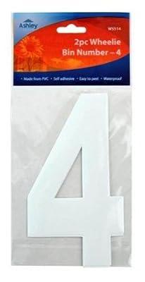 White Self Adhesive Wheelie Bin Numbers 17cm 2/Pk - 4 (WS513) Wheelie Bin / Dust bin / Dustbin Number Stickers