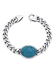 Peora 316L Stainless Steel Turquoise Blue Bollywood Men's Link Bracelet With Lobster Clasp (PSB704)