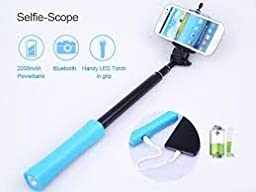 Hornet Electronics TM, High-Tech 3-in-1 Bluetooth Selfie Stick with Built-in Remote Shutter, Power Bank for iPhone and Android Smart phone - the Best Selfie Stick (Blue)