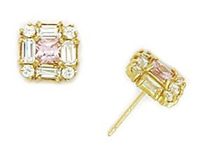 14ct Yellow Gold Pink CZ Small Princess Baguette Cut Fancy Post Earrings - Measures 7x7mm