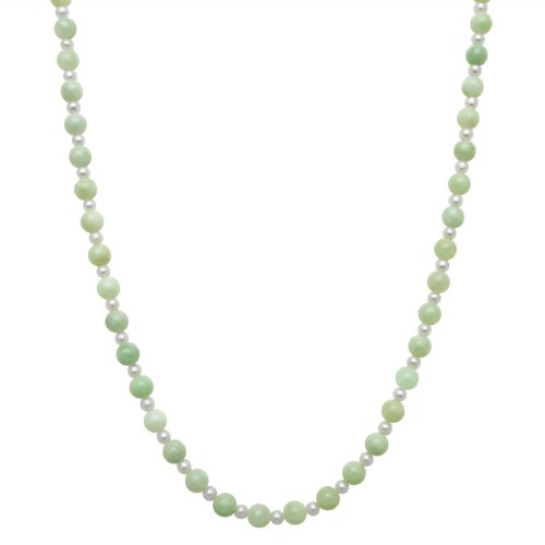 4mm White Freshwater Pearl and Alternating 8mm Green Jade Necklace with 14K Gold Clasp in Gift Box