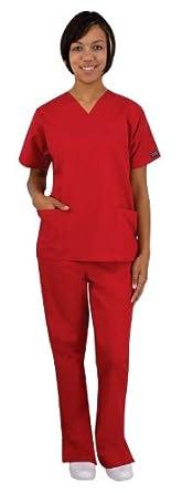 Medical Scrubs - Cherokee Uniforms Authentic Workwear Women's Two Pocket Top and Flare Leg Pant Scrub Set (Aloe, XX-Small)