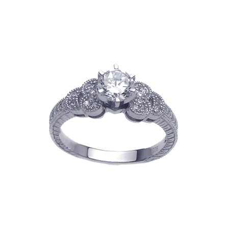 Unique Solid Sterling Silver Desing Round Cubic Zirconia Engagement Ring, Includes Gift Box and Pouch. (6)