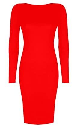 Womens Long Sleeved Scoop Neck Midi Dress (Aqa) (8/10 (uk 12/14), Red)