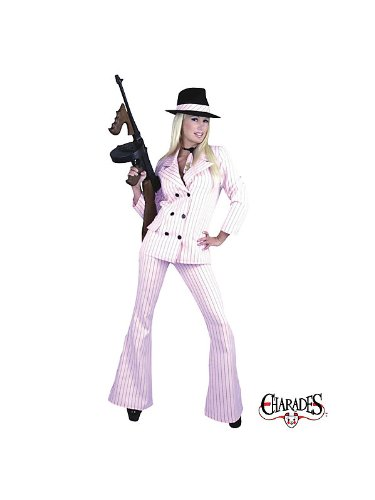 Womens Medium 8-10 Sexy Pink & Black Gangster Costume