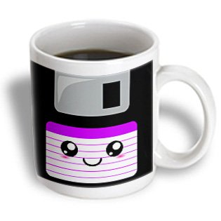 3dRose mug_57454_2 Kawaii Cute Happy Floppy Disk Old School Computer Japanese Anime Smiley Cartoon in Purple Ceramic Mug, 15-Ounce