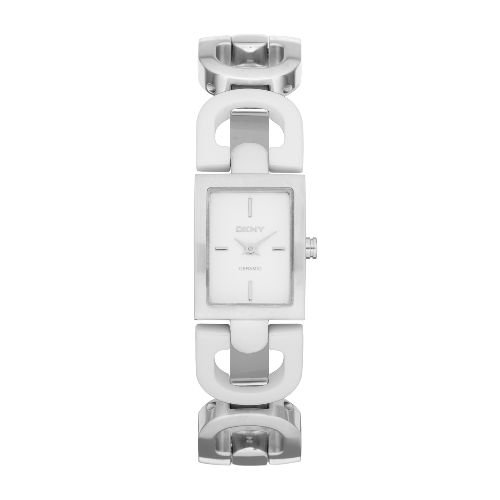DKNY White Ceramic D Link Bracelet Women's watch #NY8545