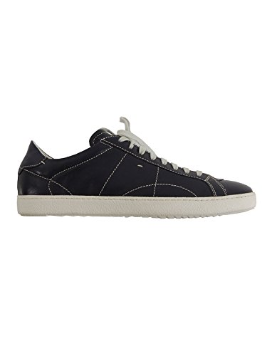 Santoni scarpe uomo sneakers stringate in pelle MBNG13807 (10, BLU)