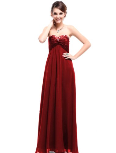Ever Pretty Strapless Red Long Fashion Maxi Party Dress 09568, HE09568RD08, Red, 6US