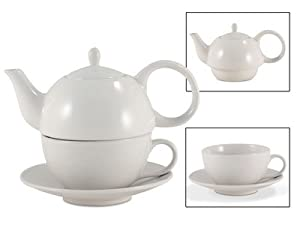 Tea for One White Gloss Finish - EnglishTeaStore Brand