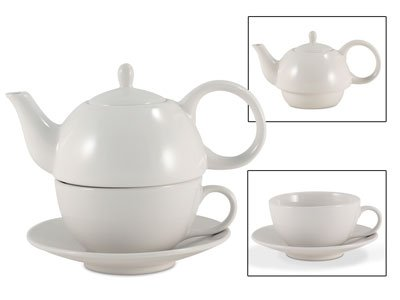 Tea for One White Gloss Finish - EnglishTeaStore Brand (English Teapot For One compare prices)