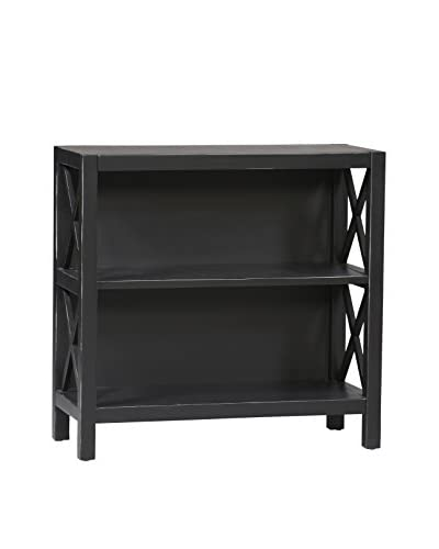 Linon Home Décor Anna Collection 3-Shelf Bookcase, Antique Black/Red