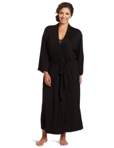 Natori Women's Plus-Size Shangri-La Bathrobe, Black, 2X