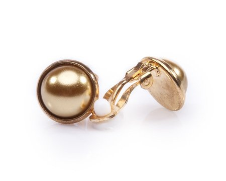 Gold Color Pearl Clip-on Earrings - 14mm Pearls