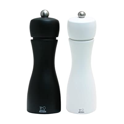 Peugeot Tahiti Duo Noir Pepper and Blanc Salt Mill Set, 15cm by Chomette