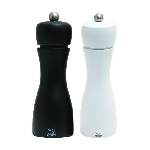 Peugeot Tahiti Duo Noir Pepper and Blanc Salt Mill Set, 15cm